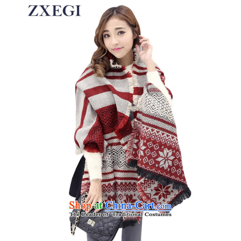 Zxegi Women New scarf winter jacquard warm cashmere shawls thick emulation _60 soft red