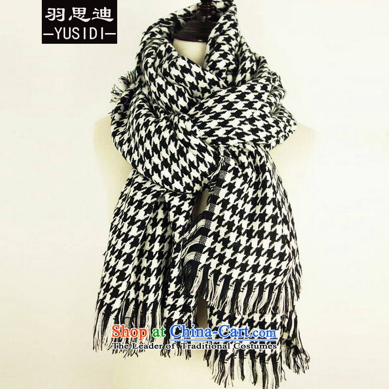 Cisco's 2015 style Yu stars of the same class of Su chidori wild Cashmere wool warm black and white checkered patterned Fancy Scarf mantle 02 Grid Color