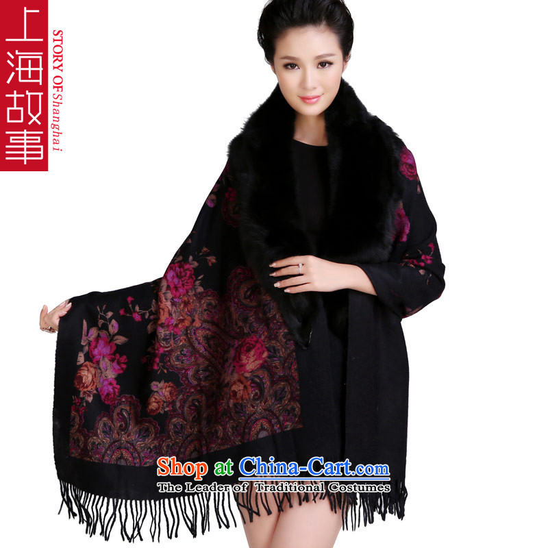 Shanghai Story autumn and winter new thick wool Fancy Scarf throughout the fox collar of gross high quality and sumptuous colors and contemptuous of Mudan black fox shawl