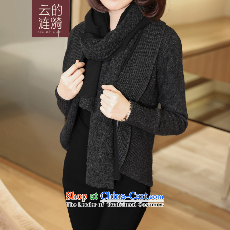 Cloud The ripple spring 2015 the new Korean high-end custom scarves knitted at beginning of the black are code
