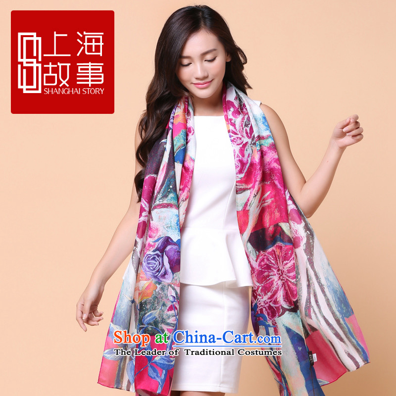 Shanghai Story counters silk scarves scarves, long herbs extract air-conditioning shawl stunning Flowers of Shanghai S strong - purple 180cm*110cm