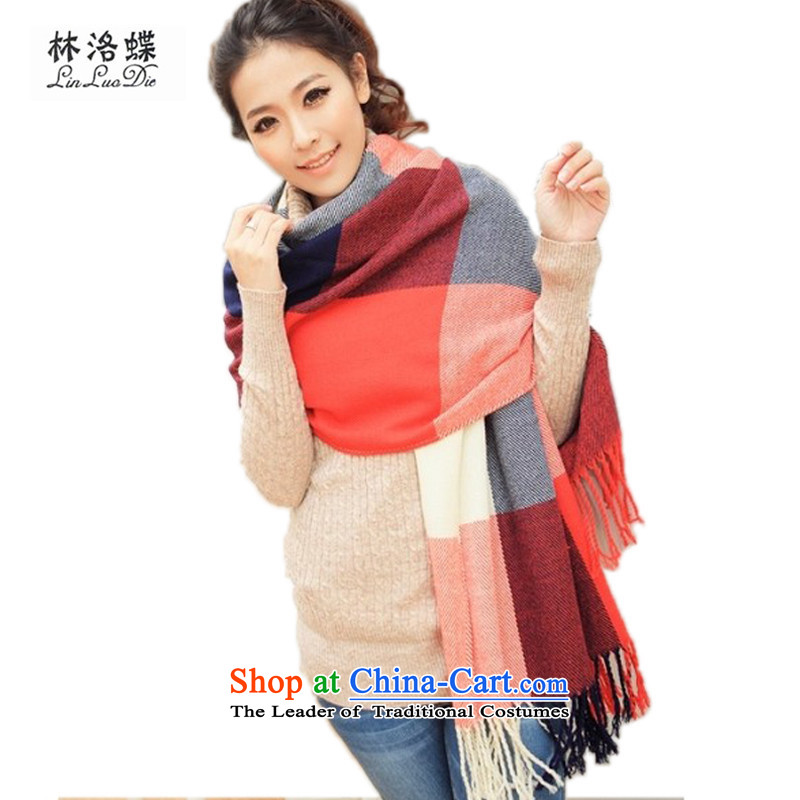 The Korean autumn and winter, scarf emulation /pashmina shawl extension scarf fresh Korean and classy latticed shawl scarf scarf of autumn and winter female new emulation Cashmere scarf Ms. edging red blue patterned scarf