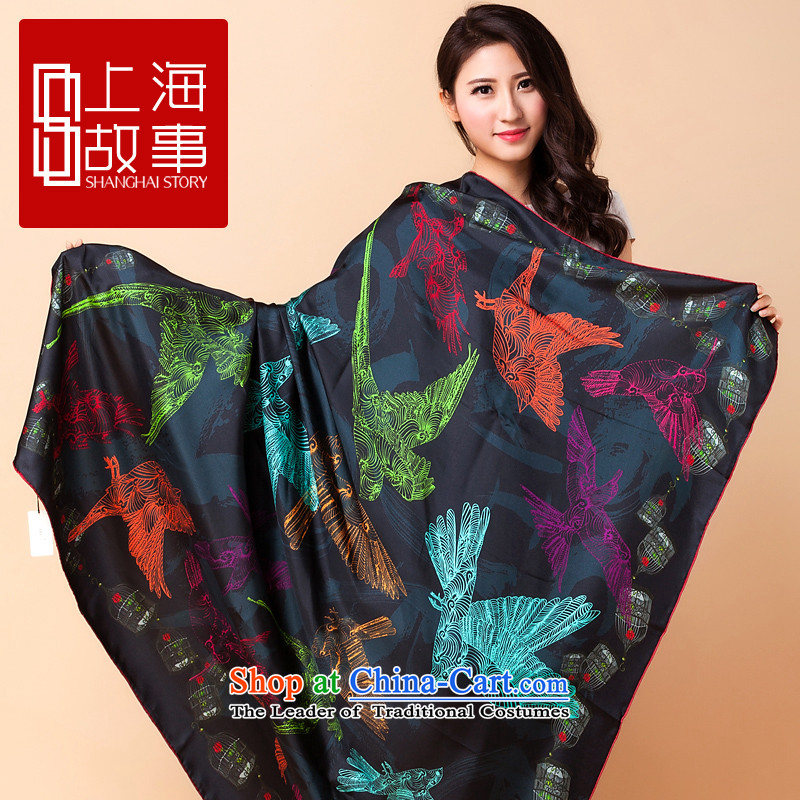 Shanghai Story Ms. long herbs extract silk scarves autumn and winter and classy towel outcropping scarves shawl, Woo flying - Black 135cm*135cm