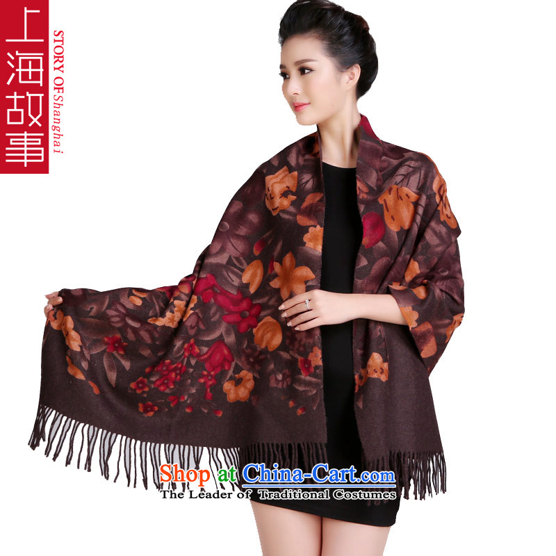 Shanghai Story Two-sided printing wooler scarf thick long warm Pure wool woolen scarves shawl country color Tianxiang Coffee