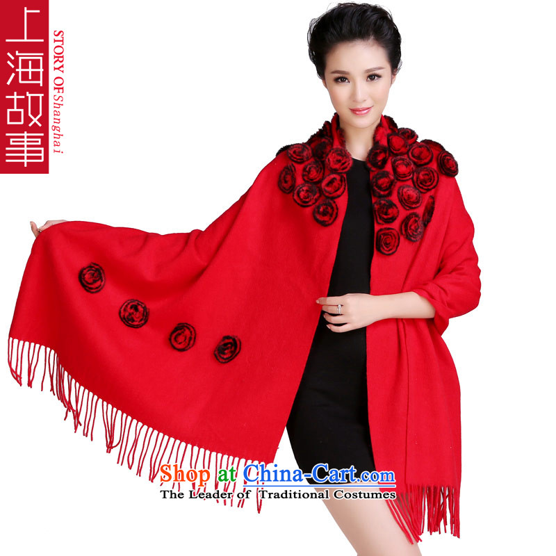 Shanghai Story 48 Roses process rabbit hair ball thick wool woolen shawl Fancy Scarf use two large and rose red flower.