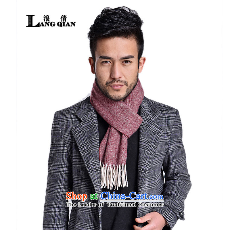 Wave field ribbed pure Chien wool autumn and winter spell color and dark red scarf