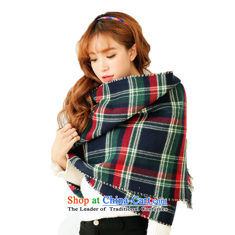Lam Wing of the Korean chidori grid scarf female long thick edges Ms. Winter autumn large two-sided latticed emulation _pashmina shawl duplex green tartan scarves Fancy Scarf - Color