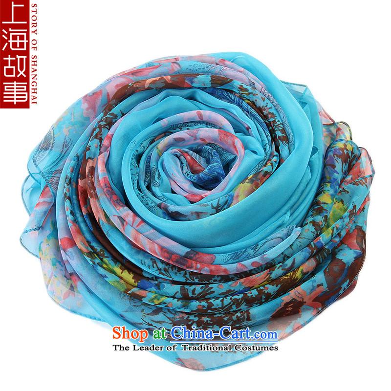 Shanghai Story Ms. silk scarf scarf-long masks in wild shawl poetic blue