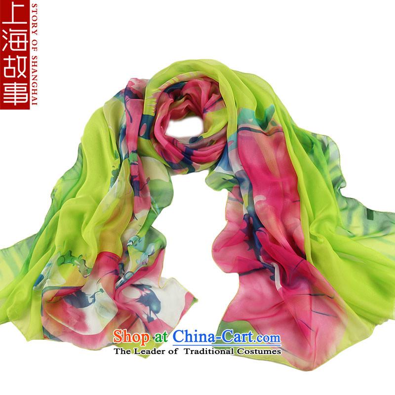 Shanghai Story Ms. silk scarf long quality silk shawls increase scarves wild Chunlan Green