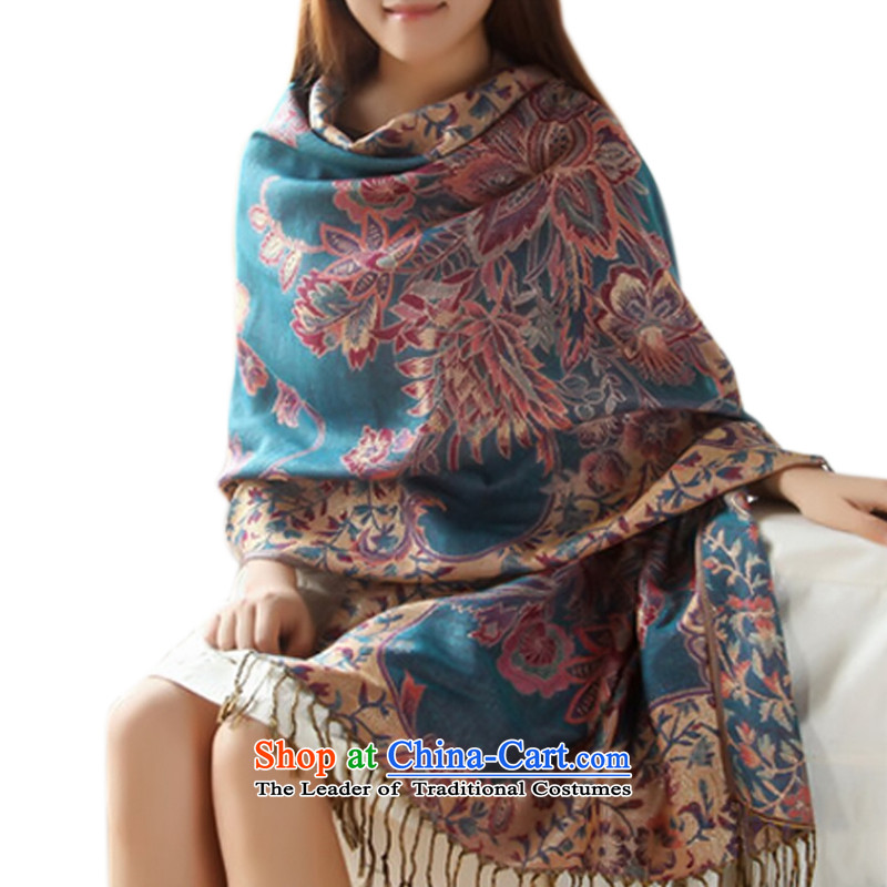 Autumn and winter oversized thick_,Lijiang,Yunnan ethnic shawl, silk scarf Fancy Scarf use two autumn Ngan Blue