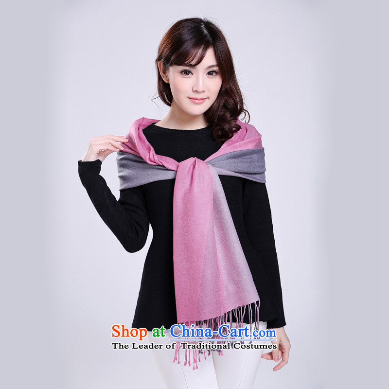 Pure wool scarves wave Chien autumn and winter female) dual-color gradient style solid wild woolen scarves shawl Magenta Grayscale Gradients