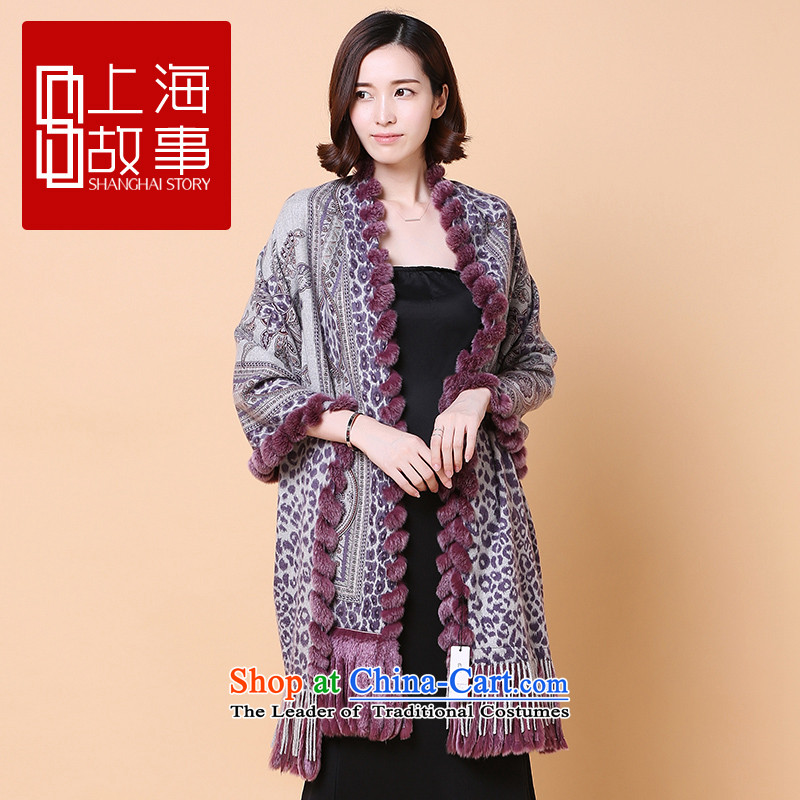 Shanghai Story counters for autumn and winter new products long valued process Ms. rabbit hair fatal love cashmere shawls fatal love, rabbit hair - Purple