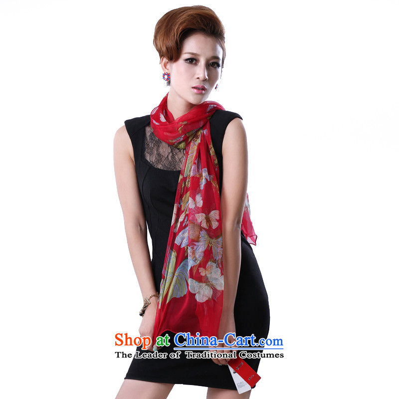 Hengyuan herbs extract spring and autumn) Cheung Ms. stamp herbs extract silk scarf (Boxset) butterflies dancing in red