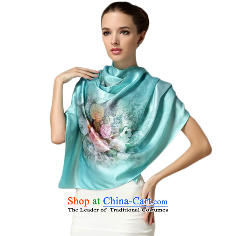 Hung-kwan sauna silk scarves long towel, silk scarfs upscale silk shawls stylish, classy and lady flowers landscapes of the dumping 175CM_52CM blue