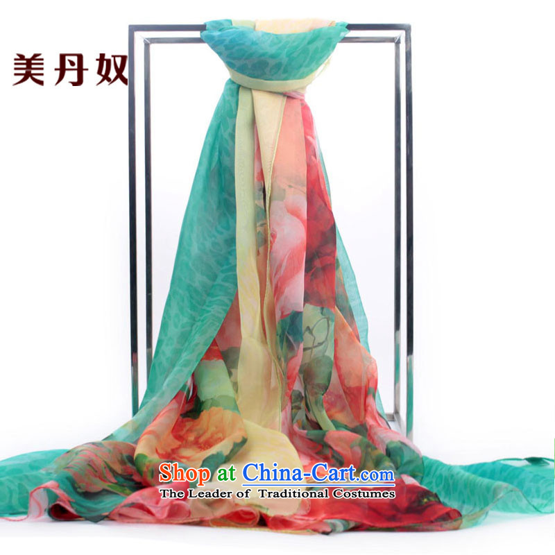 The United States House of Ms. Dan silk scarf chiffon large scarf spring and autumn wild air-conditioning shawl masks in the stamp with two Leopard Mudan - Blue Lagoon