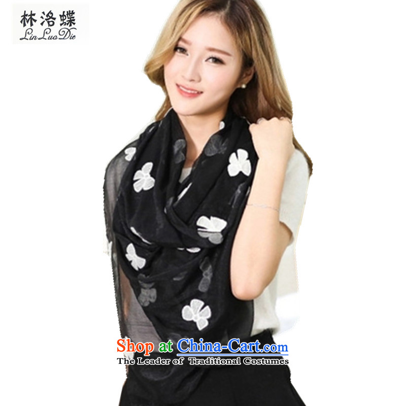 Lin, butterfly spring and summer 2015 new scarf butterfly Embroidered scarf sweet girls stylish long mandatory wild temperament silk scarf shawl butterfly silk scarf black
