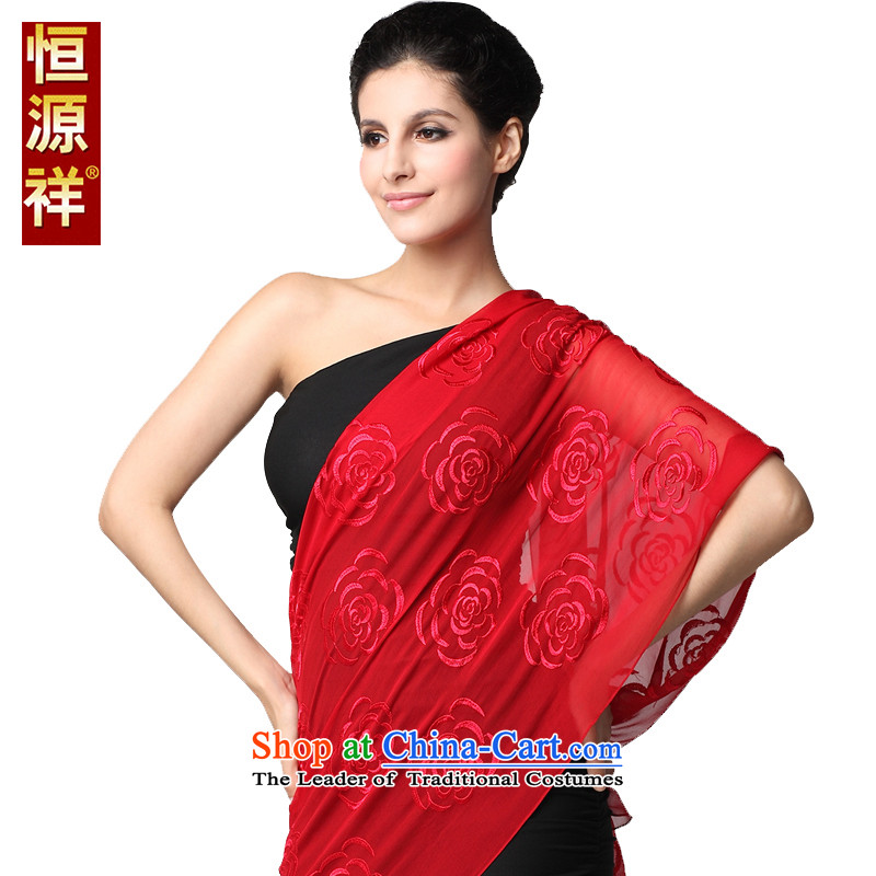 Hengyuan Cheung scarf pure colors of the Jurchen people Silk flower shadow silk scarf, spring and autumn long herbs extract hook spend sunscreen large Red Shawl170*55cm