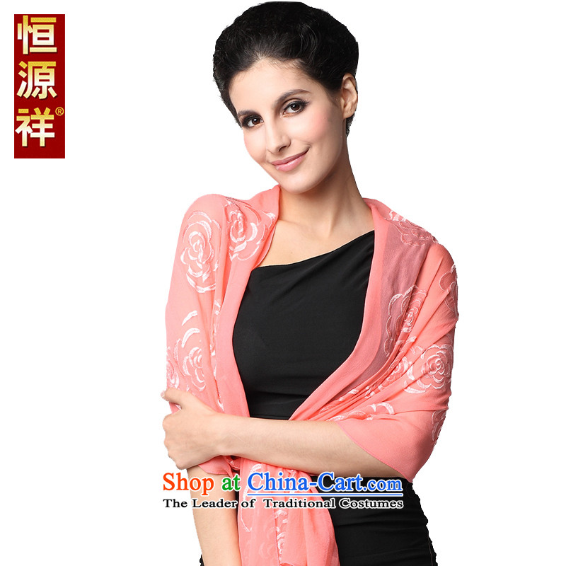 Hengyuan Cheung scarf pure colors of the Jurchen people Silk flower shadow silk scarf, spring and autumn long herbs extract hook spend sunscreen large shawl watermelon170*55cm red