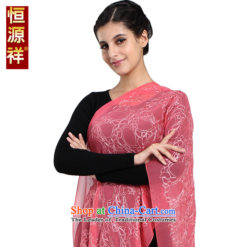 New Hengyuan Cheung female silk scarf shawl long stone sauna silk scarves moon beaded silk long towel with watermelon170*50cm red