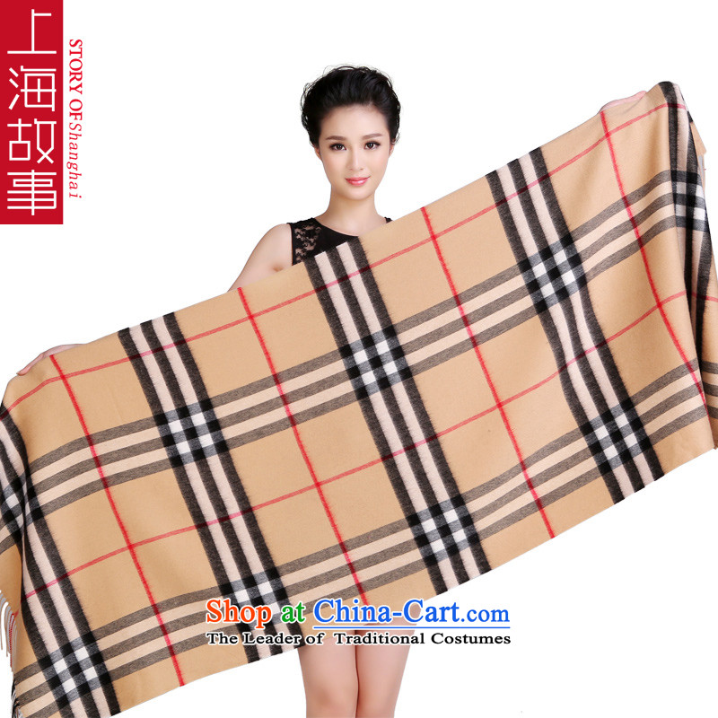 Shanghai Story counters Genuine Australian Wool Fancy Scarf thick grid with two extra long autumn and winter, high and latticed lint-free