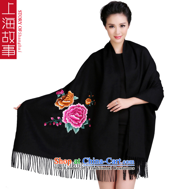 Shanghai Story luxury double-sided suzhou embroidery thick pure Cashmere scarf wedding shawl, upscale cashmere embroidered black