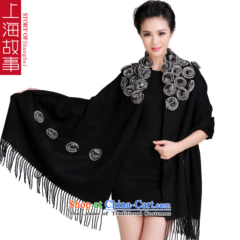 Shanghai Story 48 Roses process rabbit hair ball thick wool woolen shawl Fancy Scarf use two large and rose blossoms black.