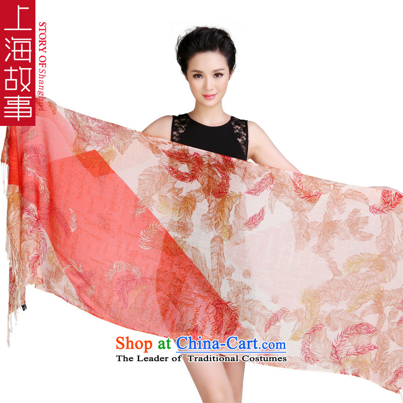 Shanghai Story autumn and winter new Korean Ms. warm wool Fancy Scarf two using Yu red and yellow
