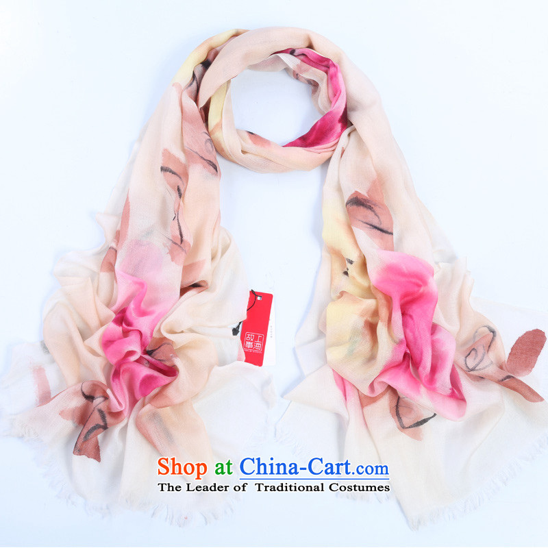 Shanghai Story autumn and winter, 300 support warm pashmina shawl rings polester velvet hand painted color ink Peony
