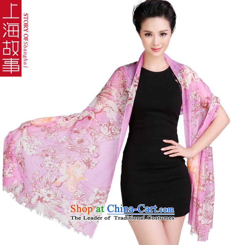 Shanghai Story pure Cashmere scarf rings lint-free warm shawl long auspicious purple flowers