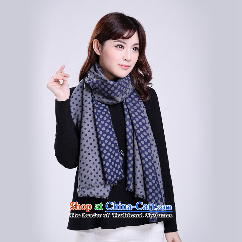 Pure wool classic wave Chien points_ Ms. wave woolen scarves shawl聽W451008 navy blue