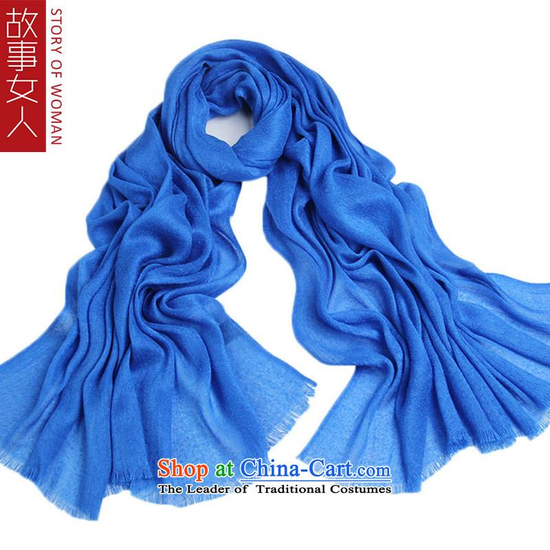 The story of the scarf female autumn and winter woman scarf warm chiffon shawl, silk scarf barometer overflew yarn Royal Blue