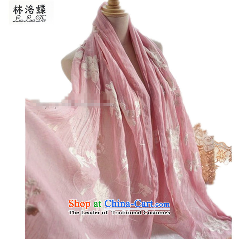 Lin, butterfly intensify embroidery take away the fourth quarter cotton linen scarf female stereo embroidery long creases silk scarf shawl scarf female arts silk scarf Embroidered scarf Ms. cotton Pink