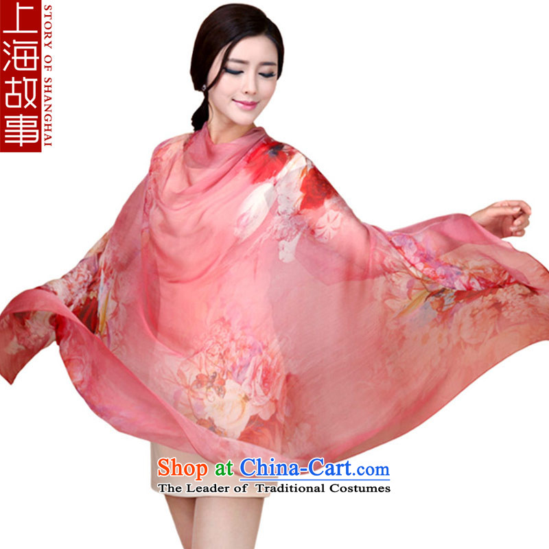 Shanghai Story silk scarves, herbs extract scarf poster masks in the extended warm red of shawl