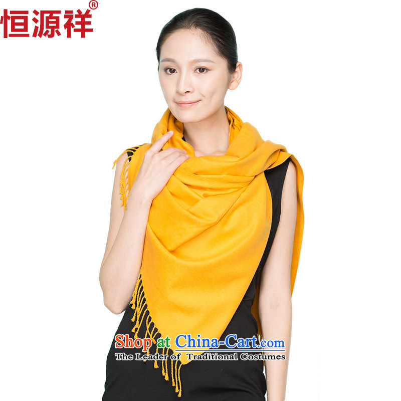 Hengyuan silk scarfs Ms. Cheung long herbs extract silk scarf Korean version of autumn and winter pure color flow su yellow scarves