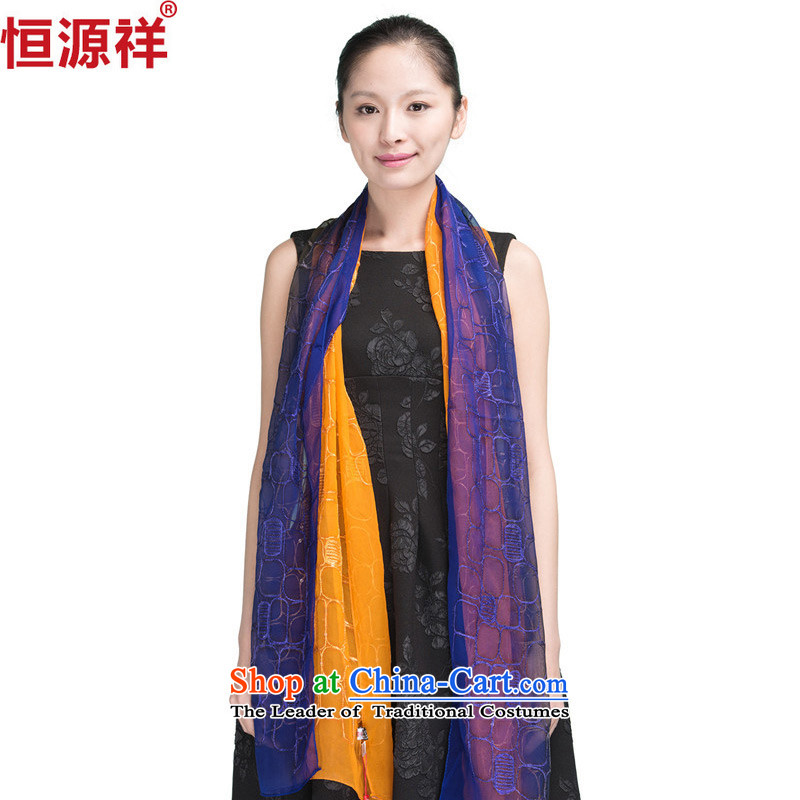 Ms. Cheung scarves Hengyuan silk scarves herbs extract masks in the summer gradient sunscreen shawl orange and blue