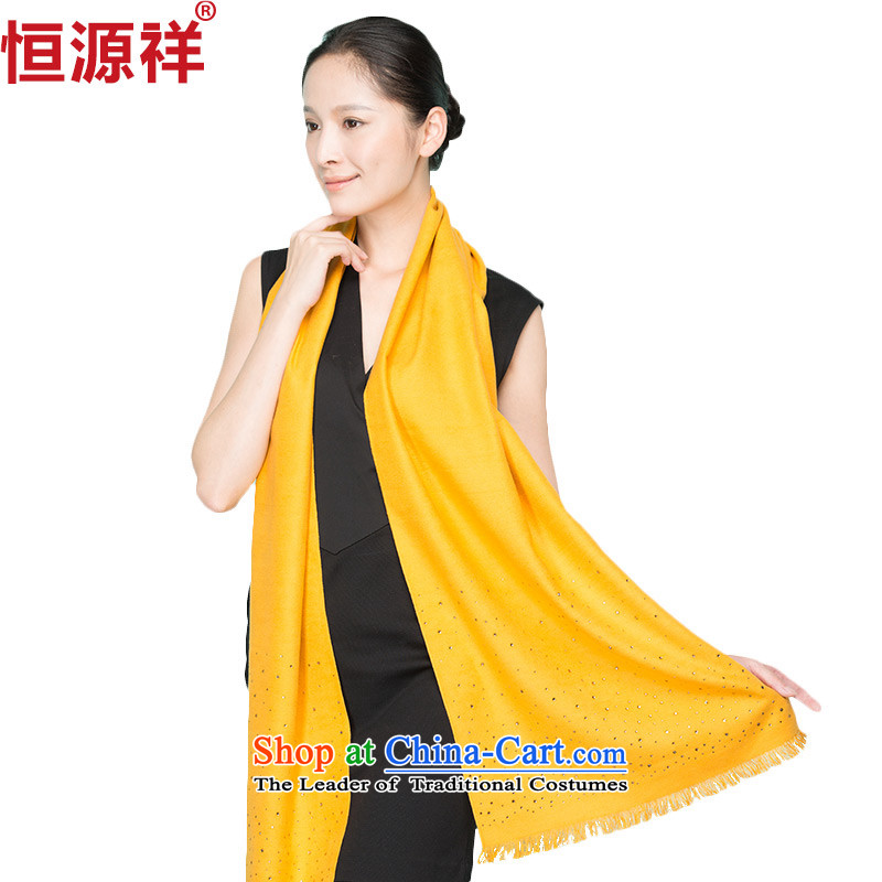 Hengyuan Cheung New silk scarfs women of color long autumn and winter, Solid Color shawl yellow