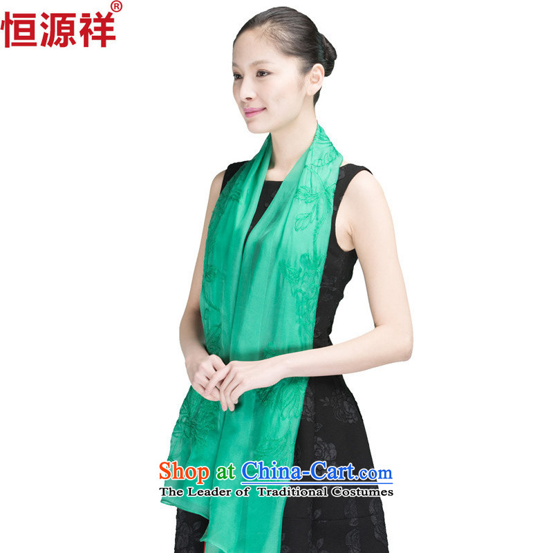 Hengyuan Cheung spring and fall herbs extract Ms. silk scarf long silk scarfs summer sunscreen pure color spinning towel green A1304-4_ Snow