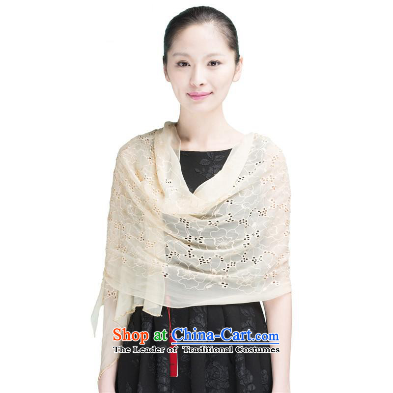 Hengyuan Cheung Korean silk scarfs Ms. shawl embroidered herbs extract silk scarf of pure color sunscreen snow spinning towel rice white