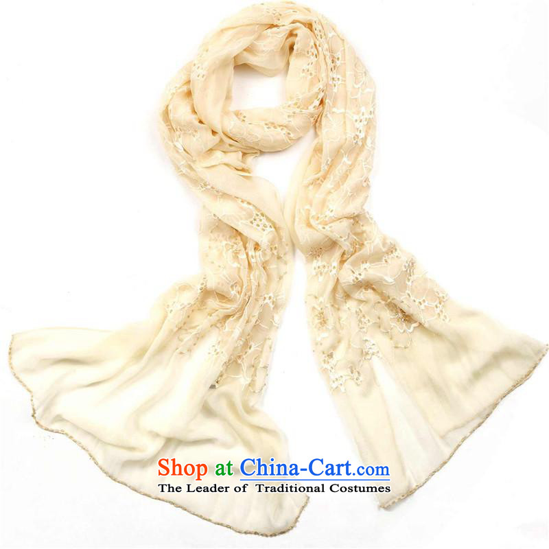 Hengyuan Cheung Korean silk scarfs Ms. shawl embroidered herbs extract silk scarf of pure color sunscreen snow spinning ivory, towel Hengyuan Cheung shopping on the Internet has been pressed.