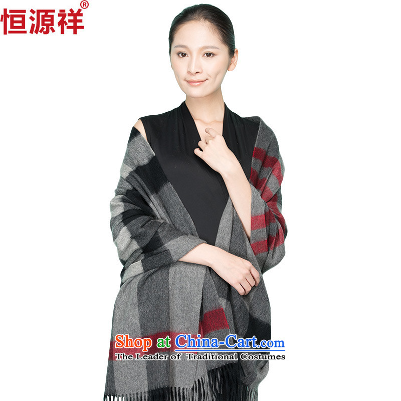 Ms. Cheung Hengyuan wooler scarf spring and fall to increase long female latticed air-conditioned room with two shawls3# Black Gray