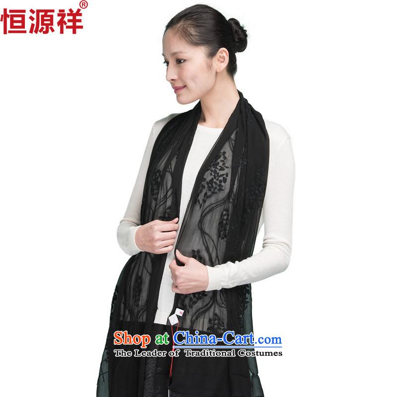 Ms. Yuen Cheung-Hang Sauna silk scarf spring and autumn summer long sunscreen hook flower silk scarves chiffon large shawl black
