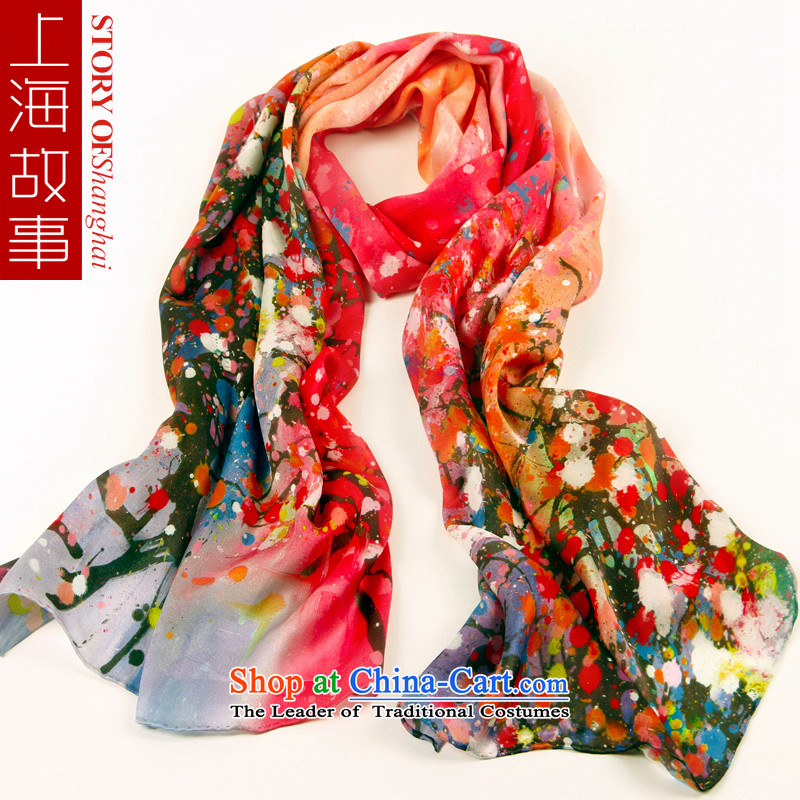 Shanghai Story boutique silk scarves 2015 spring herbs extract_ such as flowers and flower scarf red