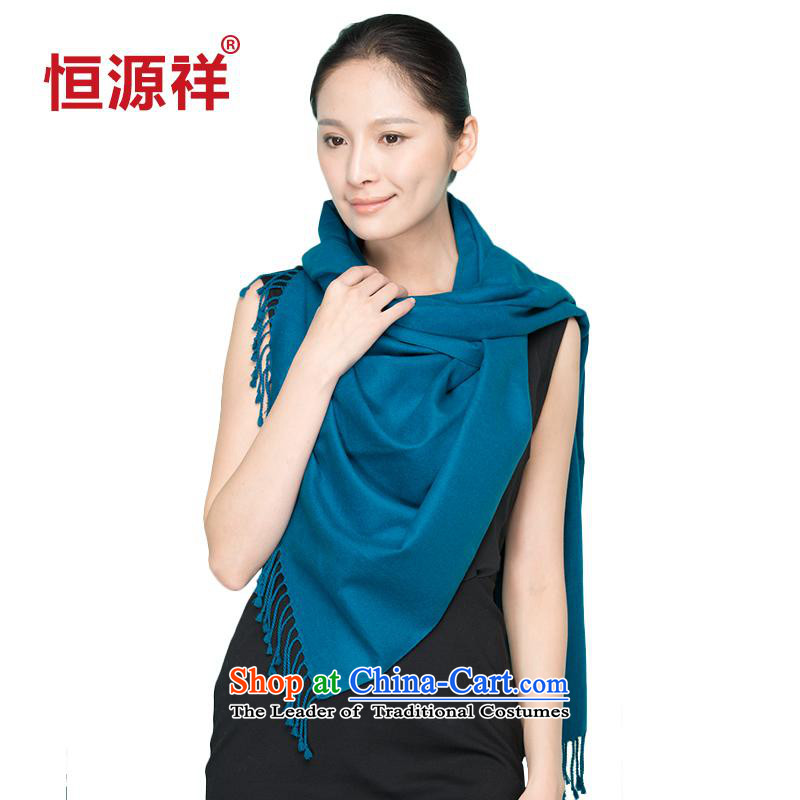 Hengyuan Cheung silk scarves Korean rectangular warm winter pure color flow su female scarf ink Lan