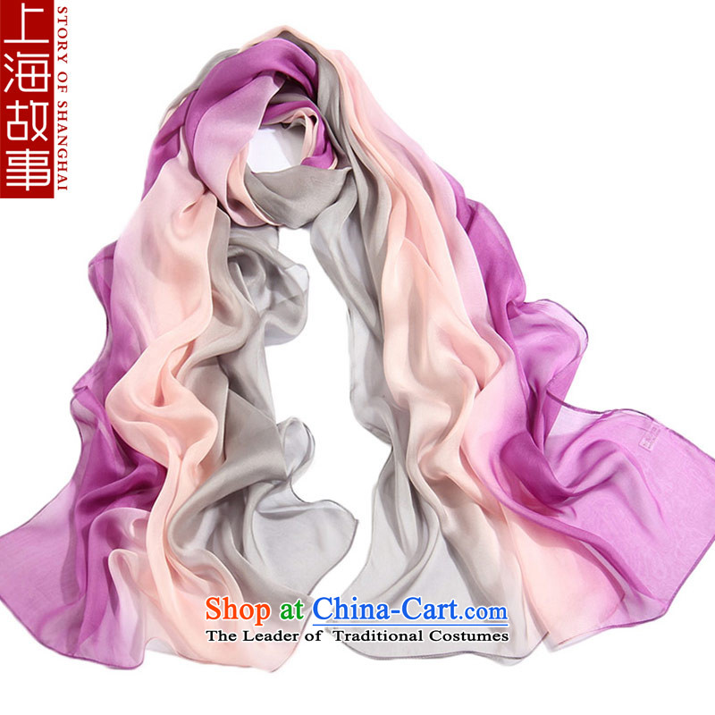 Shanghai Story silk scarves female autumn and winter gradient herbs extract scarf warm shawl Heather 53