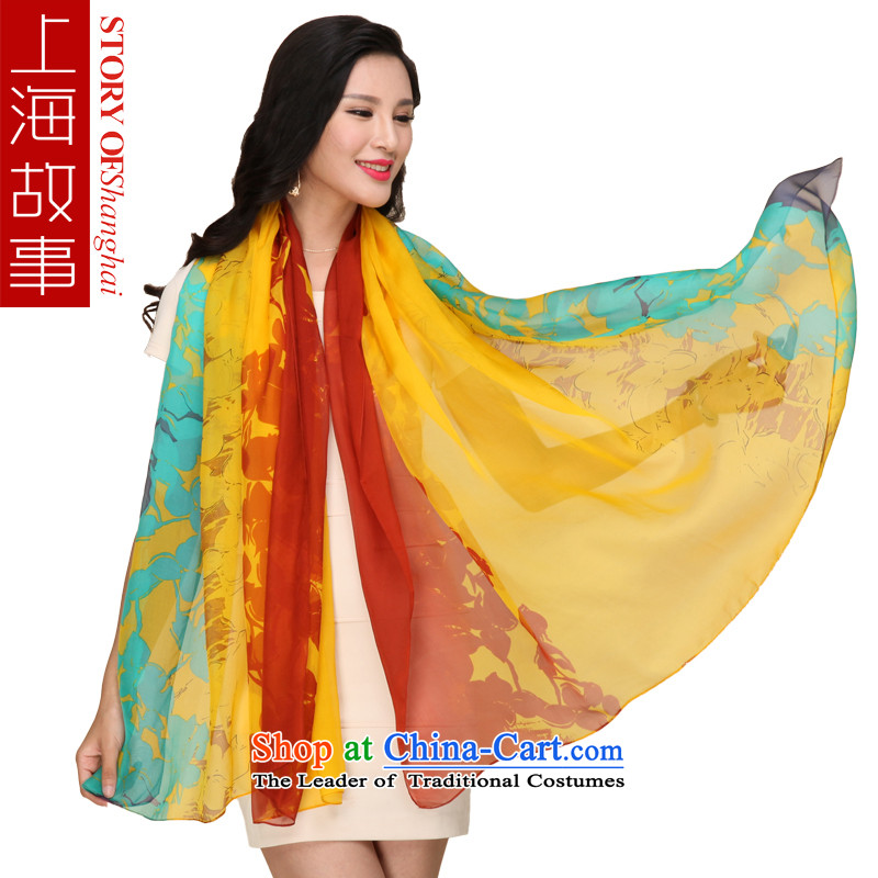 Shanghai Story President Dos Santos silk scarves silk scarf autumn and winter sports or leisure drift- shawl yellow
