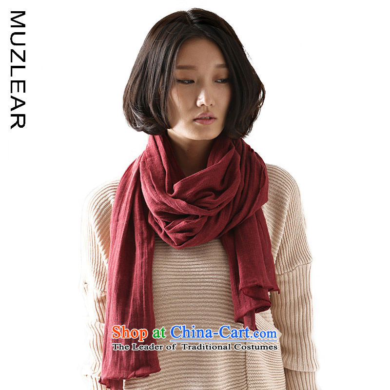 : Lee MUZLEAR original design wild solid color cotton linen scarves, extra-long 3 m silk scarf shawl, Faculty of Arts shawl beach towel rouge