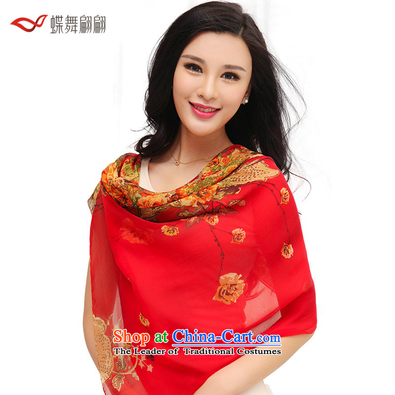 The Butterfly Dance medley of silk scarves women 2015 Autumn new herbs extract scarf wild Red Shawl