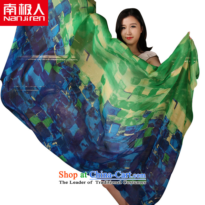 The Antarctic (nanjiren) silk scarves herbs extract the snow woven blue green scarves Ms. stamp