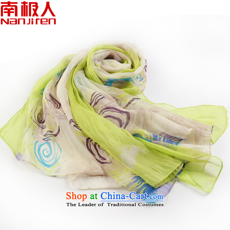 Antarctic people silk scarf female heavyweight gittoes silk scarves herbs extract聽2015 Ms. new spring and autumn scarf 310001 spin-green shadow yellow