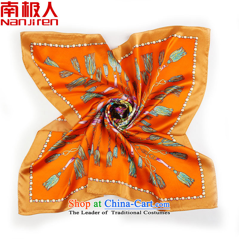 Antarctic people new spring and autumn 2015 wild upscale Korean women cape 90cm silk and classy towel herbs extract silk scarves female scarf of Greek mythology orange